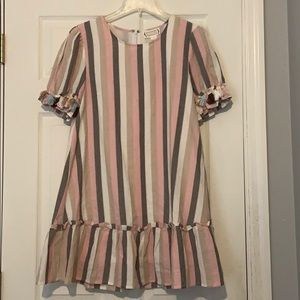 Striped dress with ruffled hem